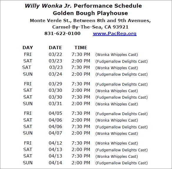 Willy Wonka Schedule