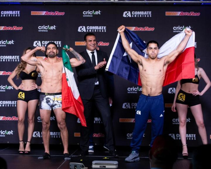 (Right) Enrique «Baby Bull» Gonzalez (150.4 lbs.) vs. (left) Alejandro «Pato» Martinez (149.9 lbs.) – Peso Pactado (150 libras) (1)